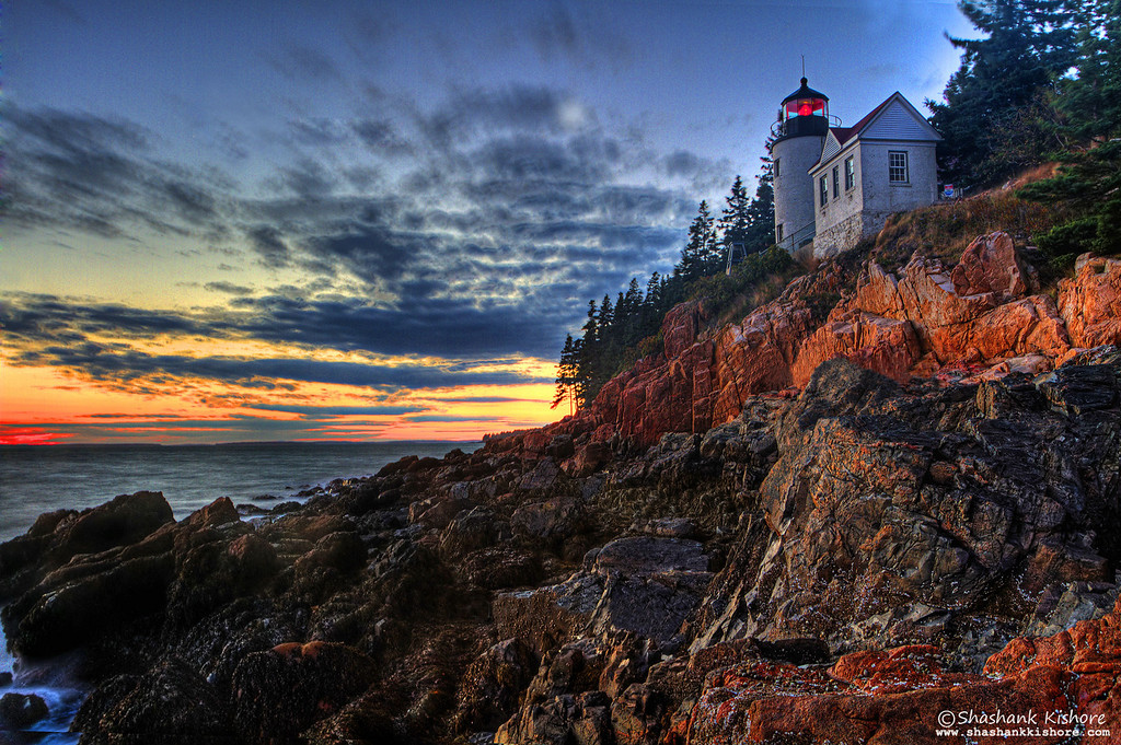 Location - Bass Harbor Lighthouse, ME, USA (Second week of Oct 2010) Canon 7D, 17-40mm, f11, ISO 100, 4 Sec.Lee 0.75 soft edge ND grad.  It's one of the most photographed lighthouses in the US. Best time to shoot is Sunset. This shot was taken around 20 min after sunset.